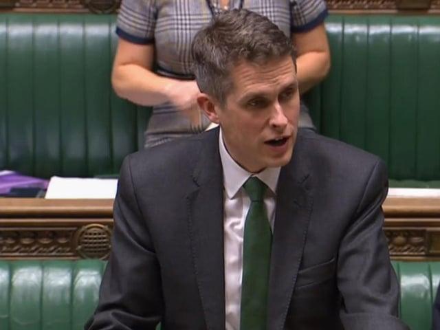 Education Secretary Gavin Williamson speaks in the Commons. Photo: PA