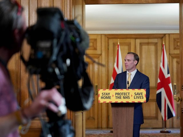 10 Downing Street handout photo of Foreign Secretary Dominic Raab during a media briefing in Downing Street, London, on coronavirus (COVID-19). Photo: PA