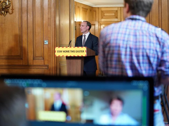 Foreign Secretary Dominic Raab during a media briefing in Downing Street, London, on coronavirus (COVID-19). Photo: Downing Street