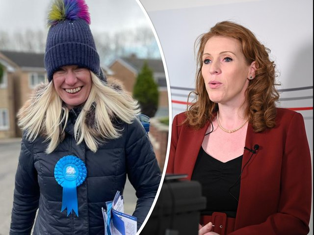 Left, Conservative Party co-chairman Amanda Milling on a visit to Yorkshire, and right, Labour deputy leader Angela Rayner, launching the party's local election campaign. Photos: CCHQ/PA
