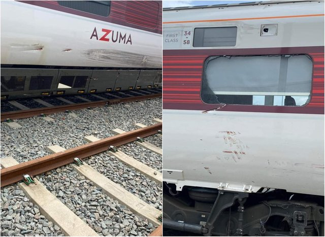 The damage caused to the Azuma train after it was hit by a stolen car in Doncaster.