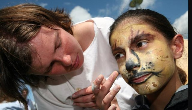 Amber Watkiss aged nine getting her face painted at the medieval fayre in 2007.
