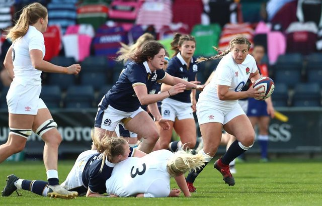 Poppy Cleall looks for support during England's victory over Scotland at Castle Park. Photo: Jan Kruger/Getty Images