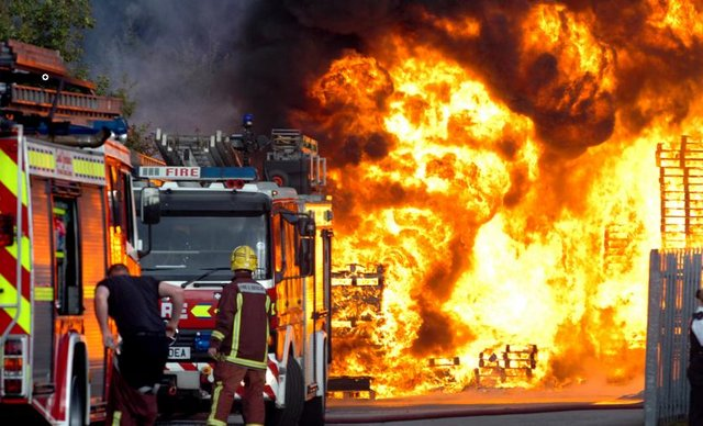 File picture shows South Yorkshire fire fighters in action