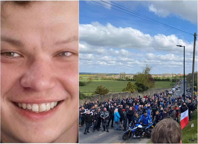 Scores of bikers turned out to pay their respects to Karol. (Photo: Rotherham Riders).