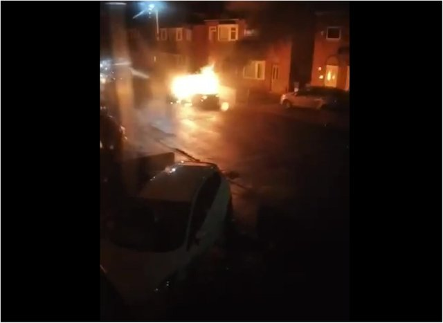 The vehicle in flames on Sheppard Road, Balby.