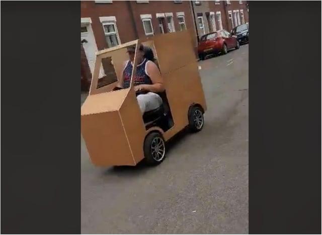 The mobile DJ in his wooden cart in Hexthorpe. (Photo: Emma Brock).