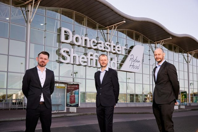 Pictured L-R Chris Harcombe, Managing Director, Doncaster Sheffield Airport, Prof Dave Petley, Vice President, University of Sheffield,  Neal Biddle, Peel, Pix: Shaun Flannery/shaunflanneryphotography.com
