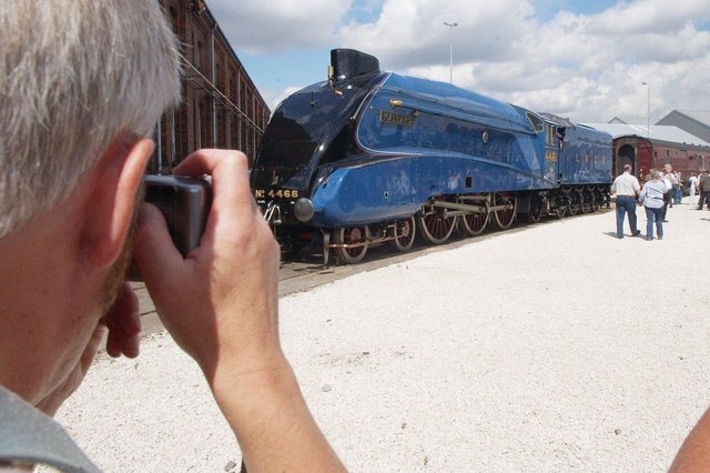 Doncaster Works Open Day, The Mallard being photographed by a visitor to the show in 2003