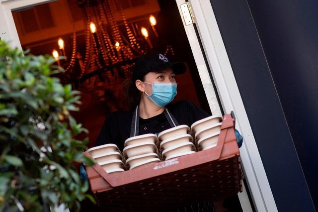 Restaurants and takeaways are delivering in Doncaster. (Photo by JUSTIN TALLIS/AFP via Getty Images)