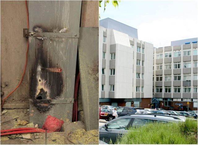 The blackened remains of the water damaged power box at Doncaster Royal Infirmary which caused a mass evacuation.