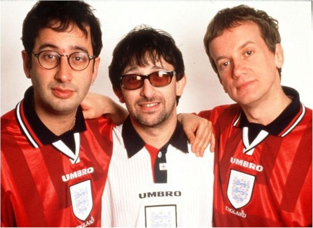 Ian Broudie, pictured with David Baddiel (left) and Frank Skinner will bring the Lightning Seeds to Doncaster next summer.  (Photo: Getty)