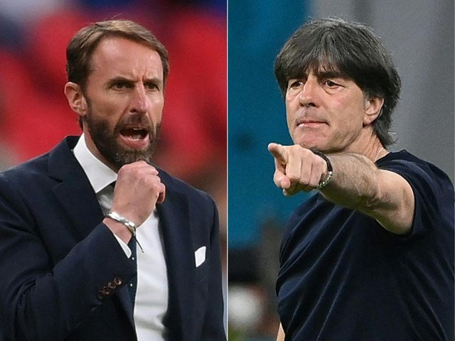 England coach Gareth Southgate and Germany counterpart Joachim Loew. Photo by LAURENCE GRIFFITHS, FRANCK FIFE/POOL/AFP via Getty Images
