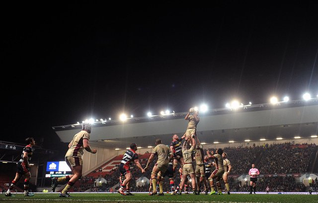 Doncaster Knights in action at Bristol in 2018. Bristol now lead the Premiership. Photo: Harry Trump/Getty Images