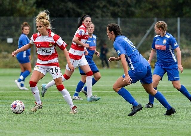 Sophie Scargill, Doncaster Rovers Belles' club captain, in action in a pre-season friendly in August. Photo: Heather King/Club Doncaster