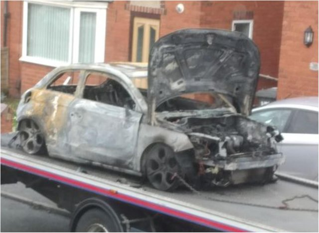 The remains of the car torched in Sheppard Road, Balby.