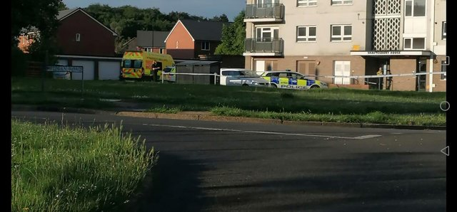 Police and paramedics on the scene of an attack with a machete at Shaftesbury House, Intake, Doncaster