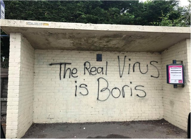 The bus shelter in Thorne has been daubed with anti-Boris Johnson graffiti.