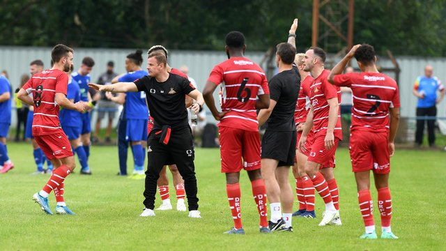 Richie Wellens gives out instructions during Saturday's friendly with Rossington Main. Picture: Andrew Roe/AHPIX