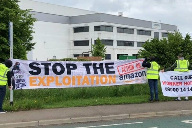 The Unite demonstration  at Amazon on Watervole Way today