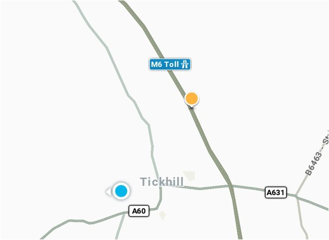 The maps app showed the M6 running past Tickhill - when its actually 82 miles away in the Midlands.
