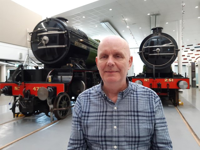 Bill McHugh in the rail heritage centre at Danum Gallery, Library and Museum