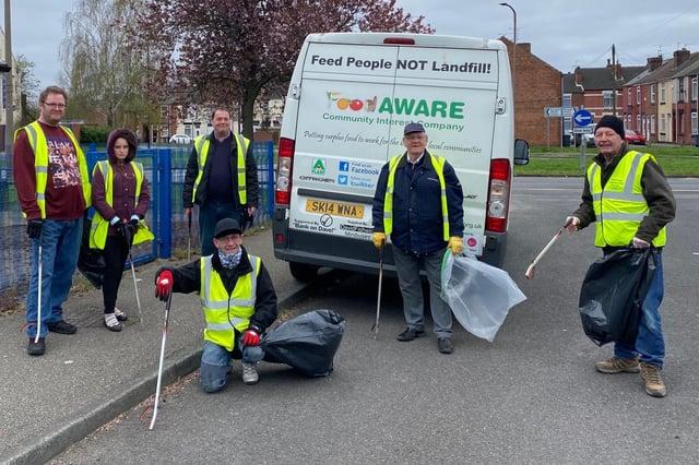 Volunteers picking litter in Mexborough on Saturday April 3