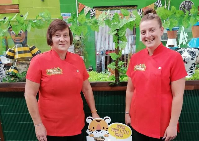 Tracey and Vicky Ebbage at Junglemazeia, in Thorne