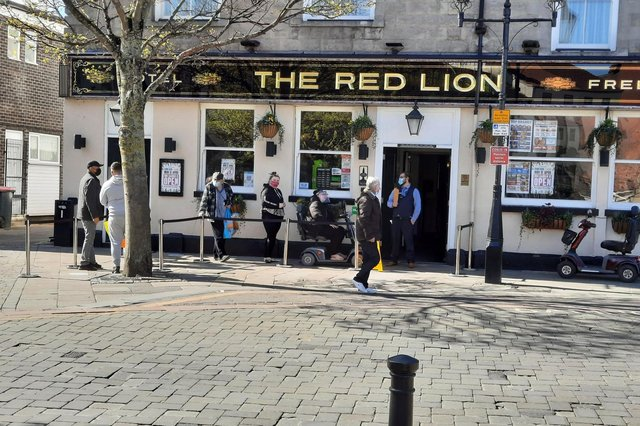 Queues for a pint outside the Red Lion in Doncaster.