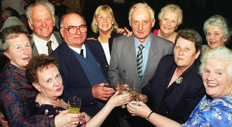 Ex pupils of Rossington Secondary Modern from 1945 to 1948. The reunion at Rossington Hall took place in 1997.  Ruby Quirk, Terry Wilde, Jo Godber, Ivy Gascoine, Wyn Rylance, Rita Spenser, Jack Silverson, Pat Rodgers, Shirley Dyson, Marion Dobson.