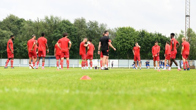 The Rovers squad warms up proper to the friendly with Rossington Main at Oxford Street. Picture: Andrew Roe/AHPIX