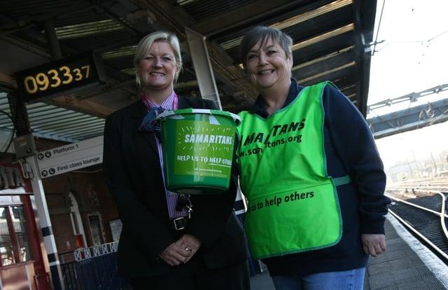 (L-R) Lindsey Hudsoon Duty Team Leader, E Coast and Kim Calvert (Doncaster Samaritans) pictured in  2014