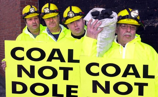 An ex-miner protest in 2004. Terry, Shane and John Butkeraitis and Bell Kelwick.