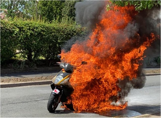 Cameron's bike was destroyed in an inferno. (Photo: Cameron Hill).