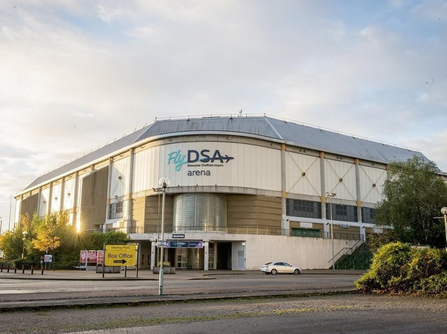 Sheffield Arena with its FlyDSA sign.
