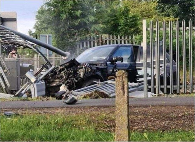 The wreckage of the Range Rover that smashed into a train in Doncaster.