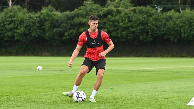 Ed Williams in training with Rovers last week