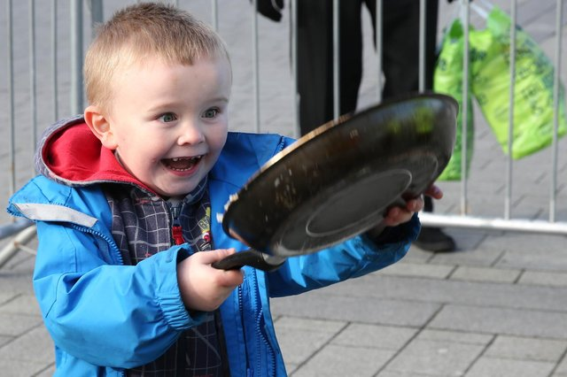 Pancake Day in Doncaster Market Place in 2016 where James Harty age 4 looked very pleased with his pancake