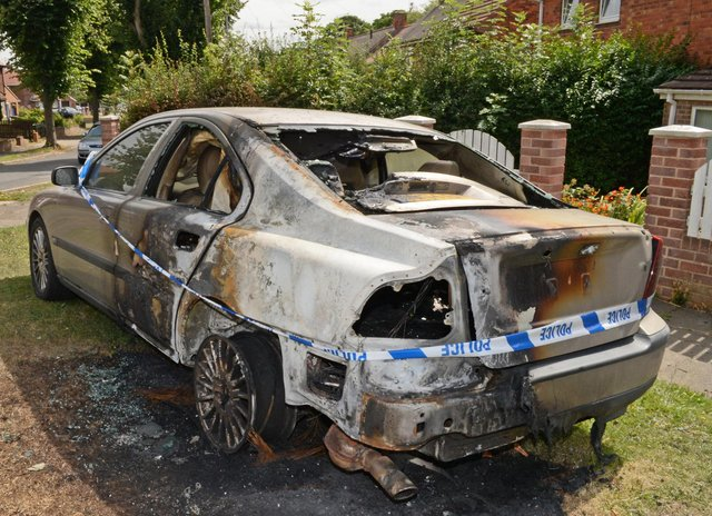 One of Andrew Haigh's two cars that were set alight. Picture: Marie Caley NSYT 11-08-15 Arson MC 5