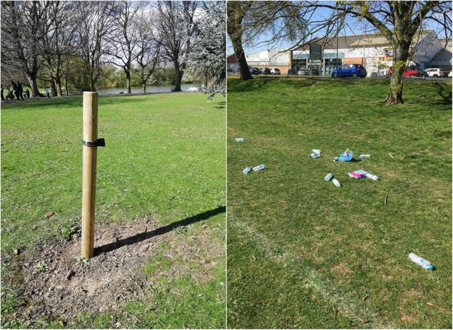 Trees have been damaged and litter dumped in Sandall Park. (Photo: FOSP).