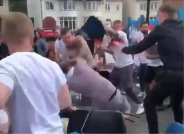England fans brawl in the footage, said to have been filmed in Doncaster.