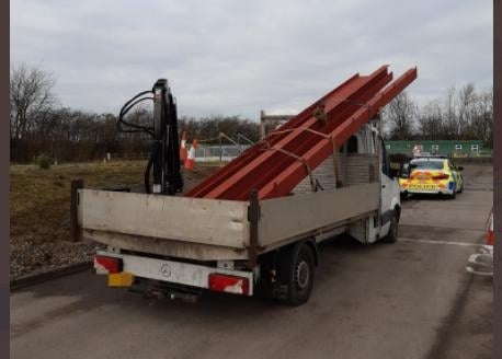Police stopped this truck on the M18 because of concerns over its load