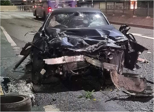 The smashed remains of the BMW after the Balby smash. (Photo: Paul Weir)