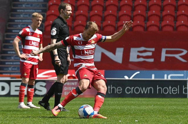 James Coppinger strikes the bar with a free kick during the final game of his career. Picture: Andrew Roe/AHPIX