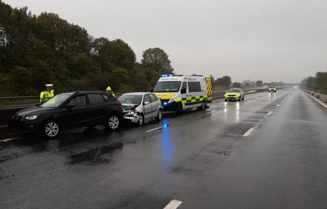 The crash between unction two and three on the M18 this morning