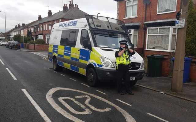 Police taking part in today's speeding operation in Intake, Doncaster