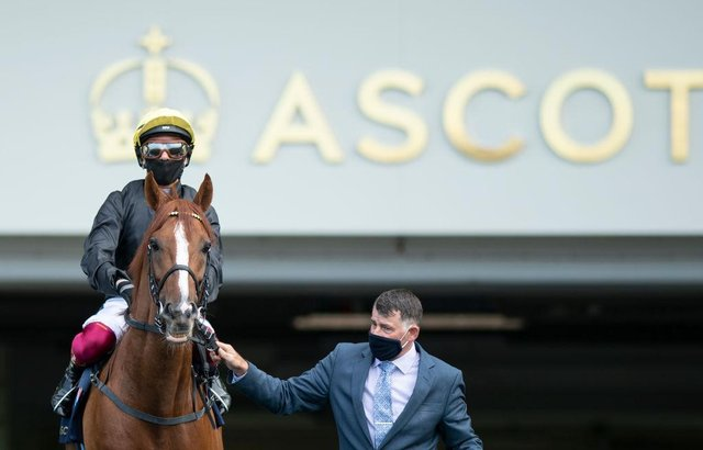 Stradivarius and Frankie Dettori are led on to the course at Ascot last year. Photo by Edward Whitaker/Pool via Getty Images
