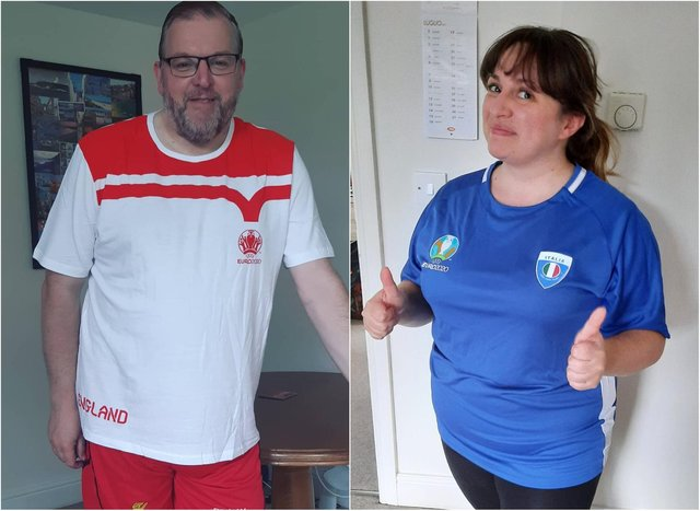 England fan Darren Burke and Italian partner Giulia Savini will have divided loyalties for this weekend's Euro 2020 final.