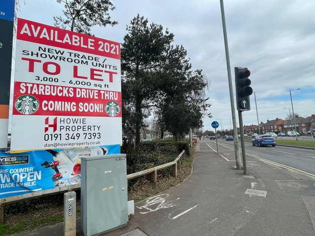 A sign announcing a new Starbucks has appeared on Wheatley Hall Road.