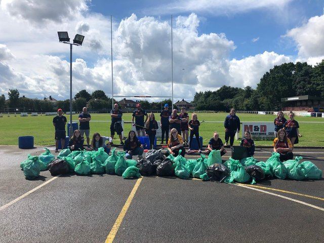 Wheatley Hills RUFC's girls and volunteers are pictured after the litter pick.